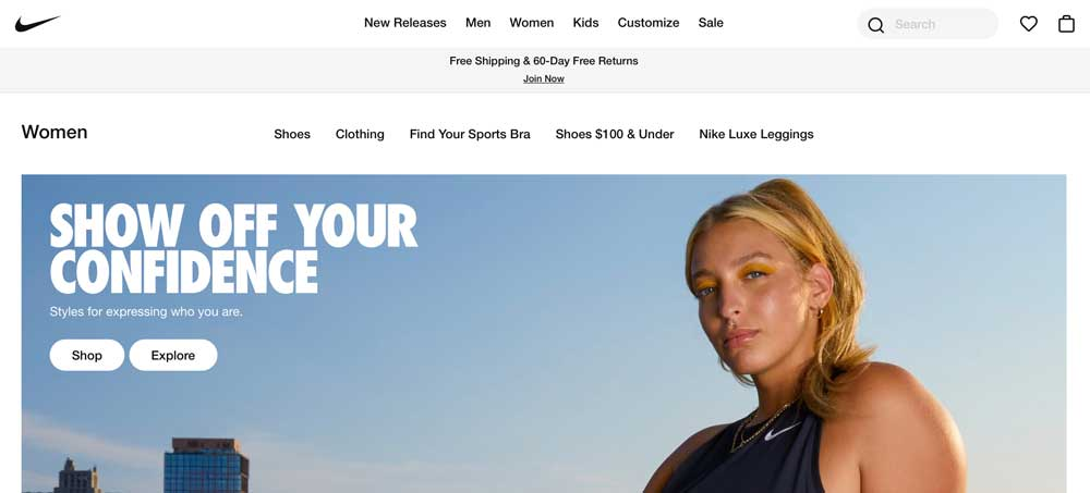 Homepage of Nike women's category on their website, that includes a clear call to action, which is good for conversion rate optimization.
