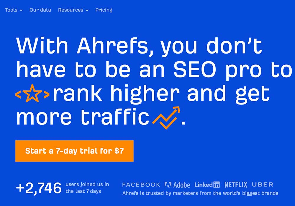 Ahrefs homepage as an example of good homepage for conversion rate optimization